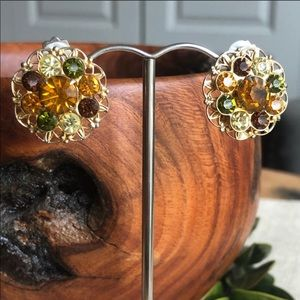 Vintage Glass Rhinestone Filigree Clip Earrings